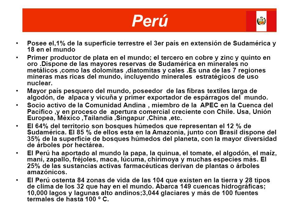 Perú Posee el,1% de la superficie terrestre el 3er país en extensión de Sudamérica y 18 en el mundo.