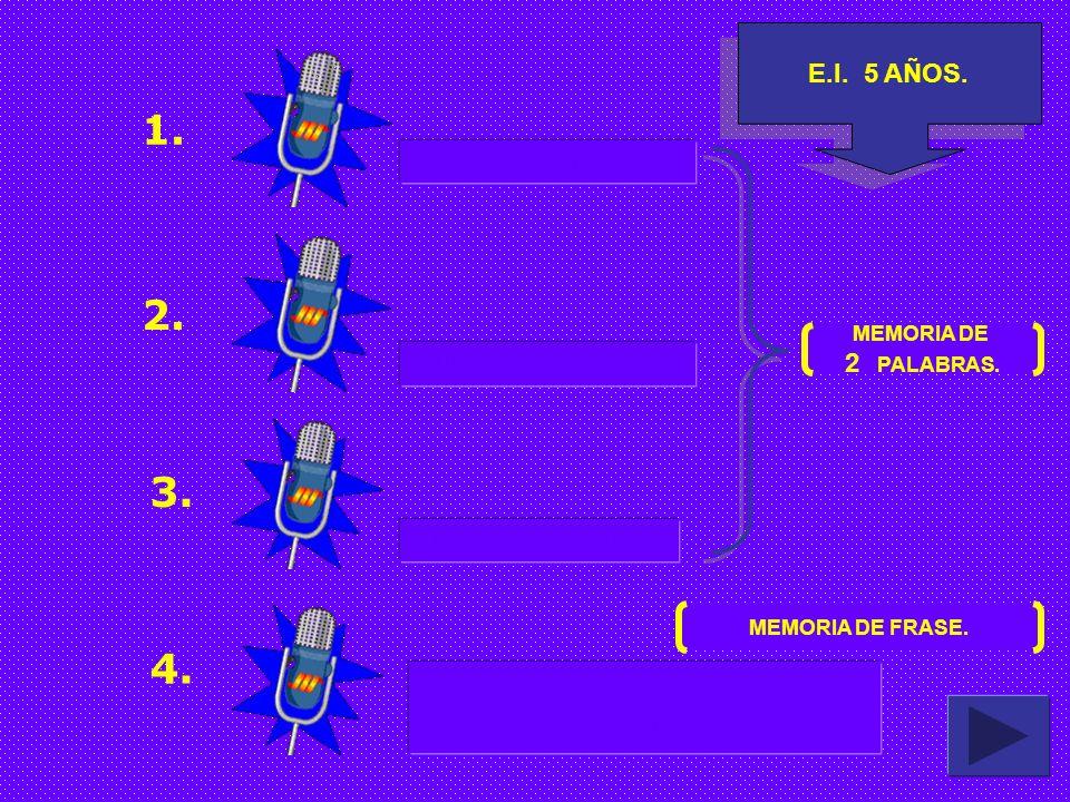 1. 2. 3. 4. E.I. 5 AÑOS. PELO - CASTAÑA 2 PALABRAS. MUÑECA - CONEJO