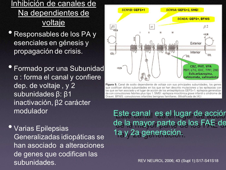 Inhibición de canales de Na dependientes de voltaje