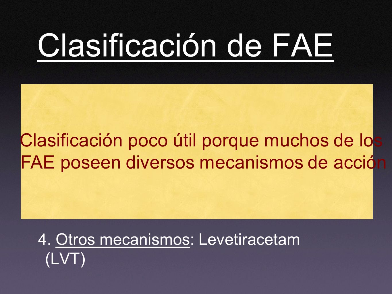 Clasificación de FAE Clasificación poco útil porque muchos de los
