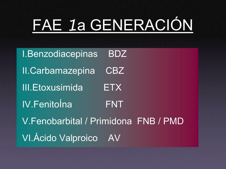 FAE 1a GENERACIÓN Benzodiacepinas BDZ Carbamazepina CBZ