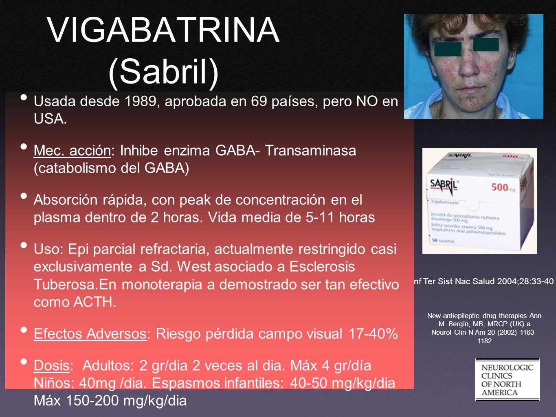 VIGABATRINA (Sabril) Usada desde 1989, aprobada en 69 países, pero NO en USA. Mec. acción: Inhibe enzima GABA- Transaminasa (catabolismo del GABA)