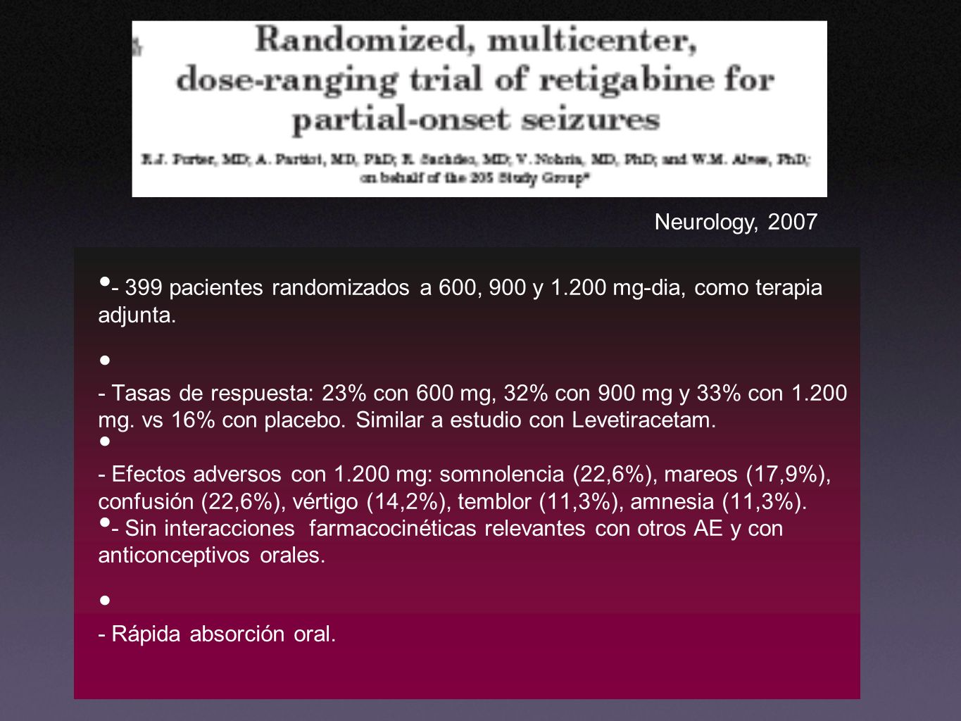 Neurology, 2007 - 399 pacientes randomizados a 600, 900 y 1.200 mg-dia, como terapia adjunta.
