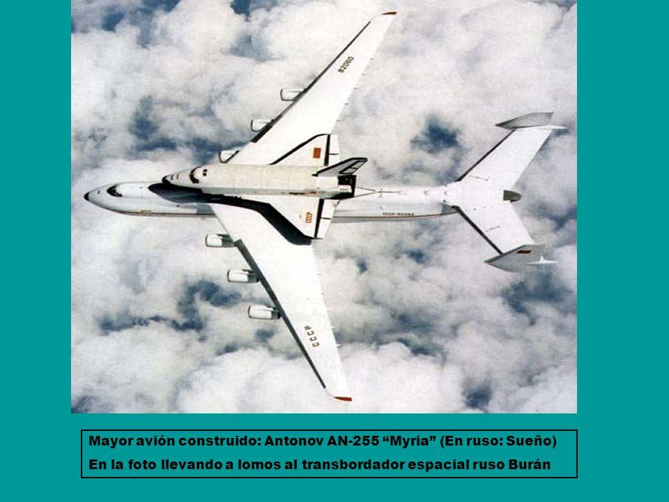 Mayor avión construido: Antonov AN-255 Myria (En ruso: Sueño)