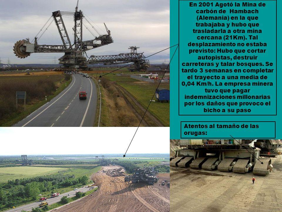 En 2001 Agotó la Mina de carbón de Hambach (Alemania) en la que trabajaba y hubo que trasladarla a otra mina cercana (21Km). Tal desplazamiento no estaba previsto: Hubo que cortar autopistas, destruir carreteras y talar bosques. Se tardo 3 semanas en completar el trayecto a una media de 0,04 Km/h. La empresa minera tuvo que pagar indemnizaciones millonarias por los daños que provoco el bicho a su paso
