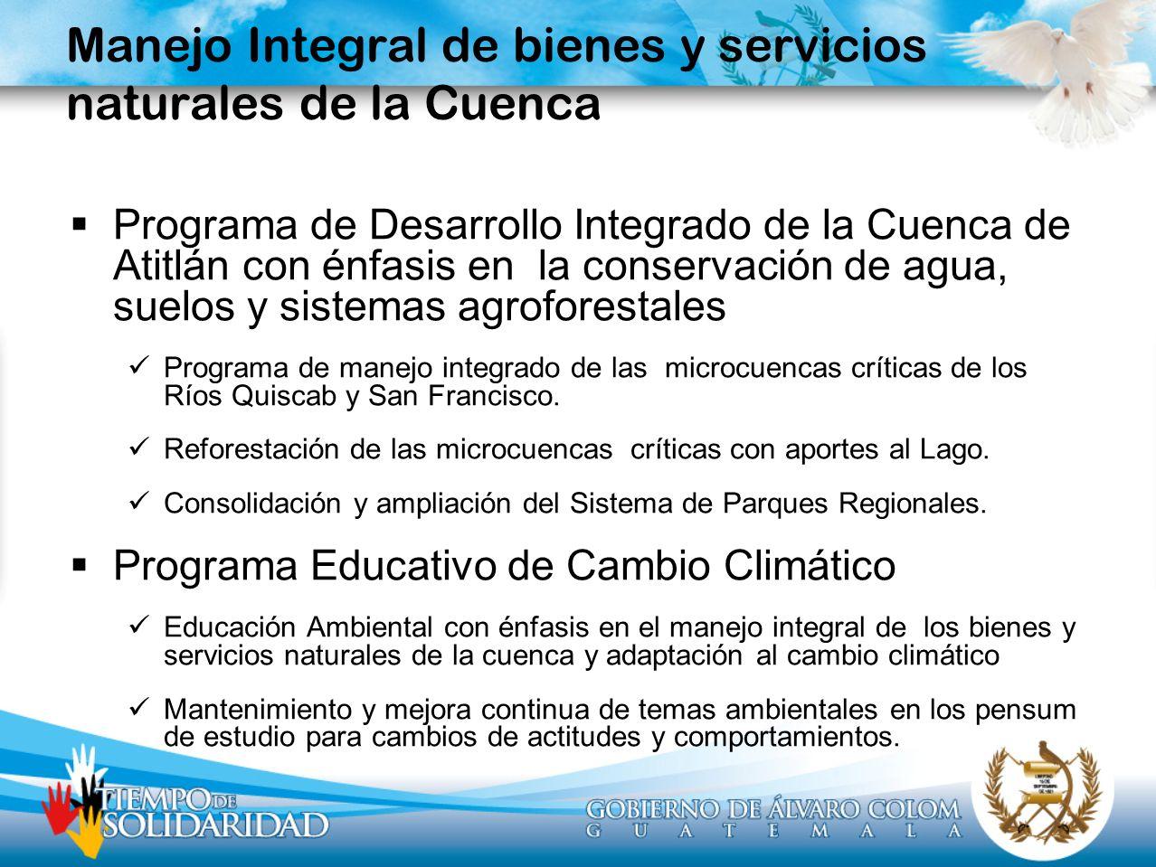 Manejo Integral de bienes y servicios naturales de la Cuenca