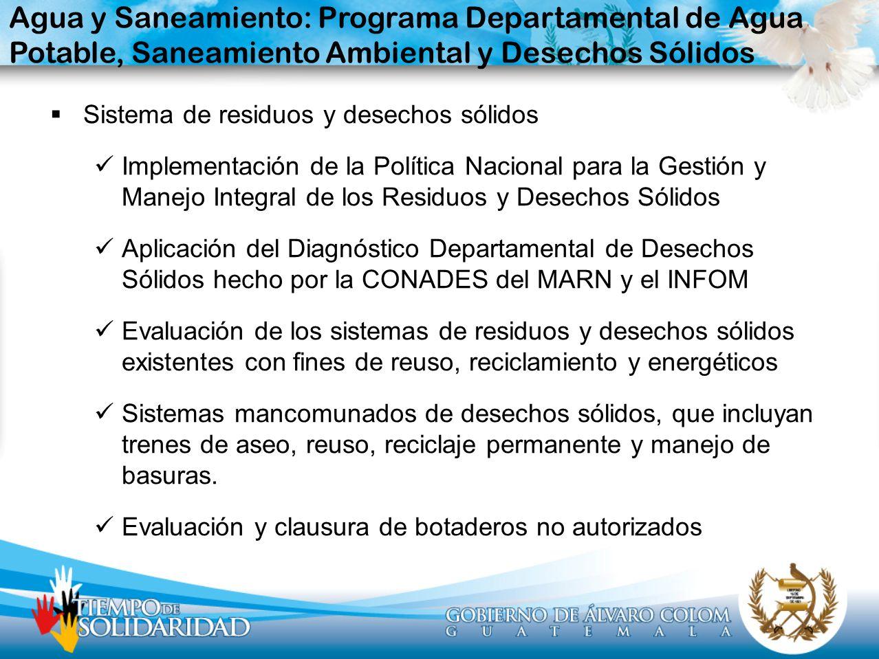 Agua y Saneamiento: Programa Departamental de Agua Potable, Saneamiento Ambiental y Desechos Sólidos