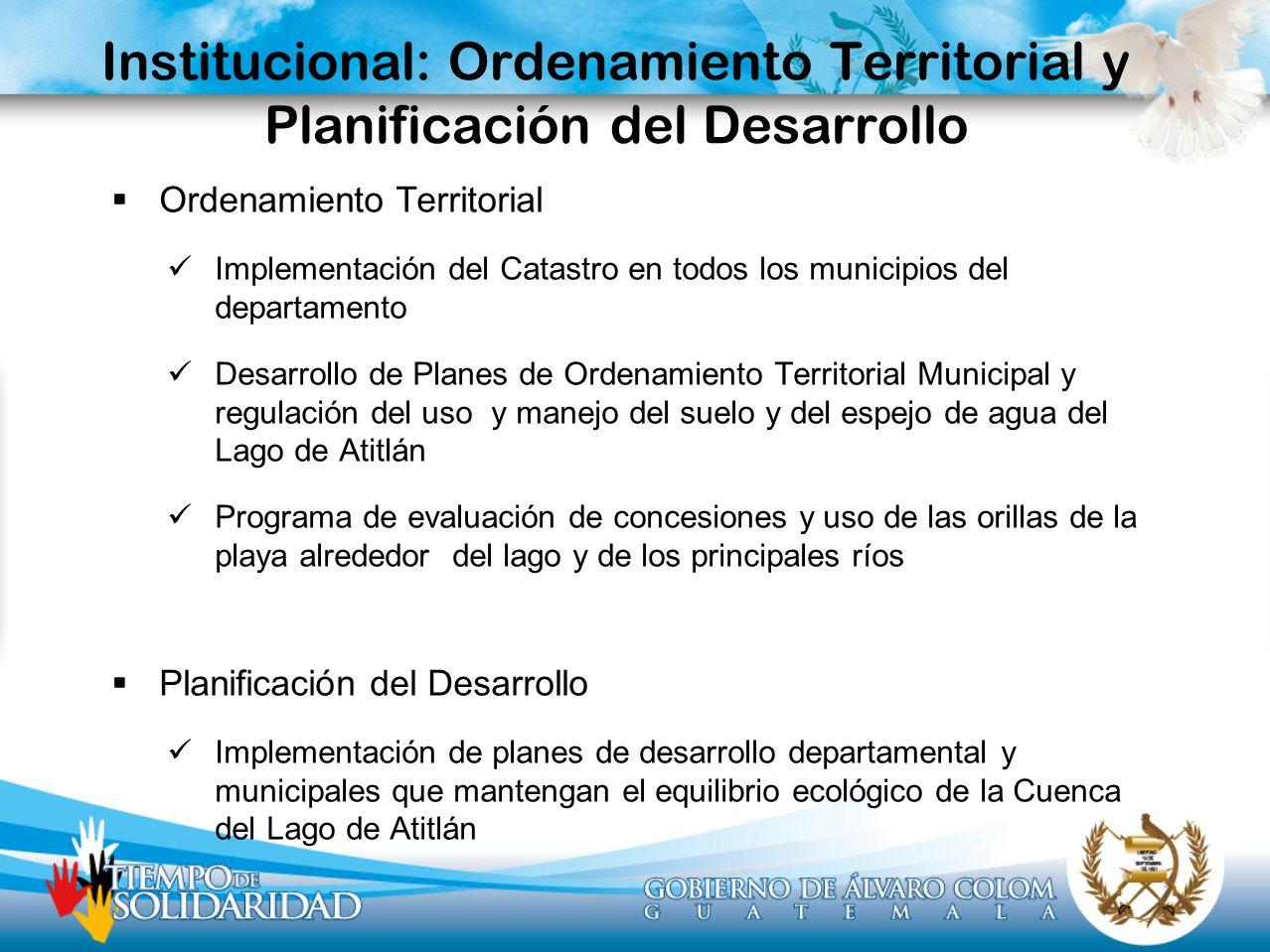 Institucional: Ordenamiento Territorial y Planificación del Desarrollo