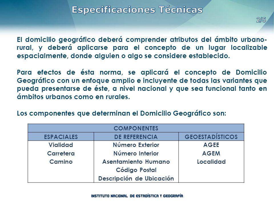 Especificaciones Técnicas Descripción de Ubicación