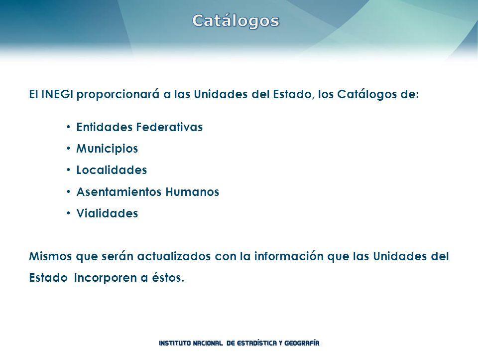 Catálogos El INEGI proporcionará a las Unidades del Estado, los Catálogos de: Entidades Federativas.