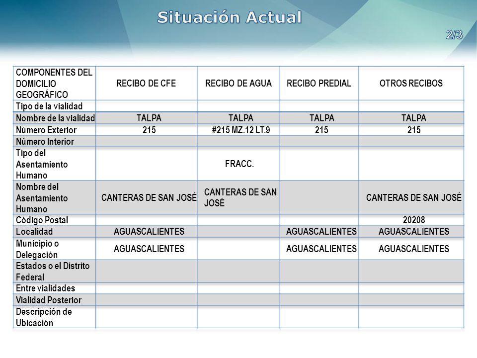 Situación Actual 2/3 COMPONENTES DEL DOMICILIO GEOGRÁFICO