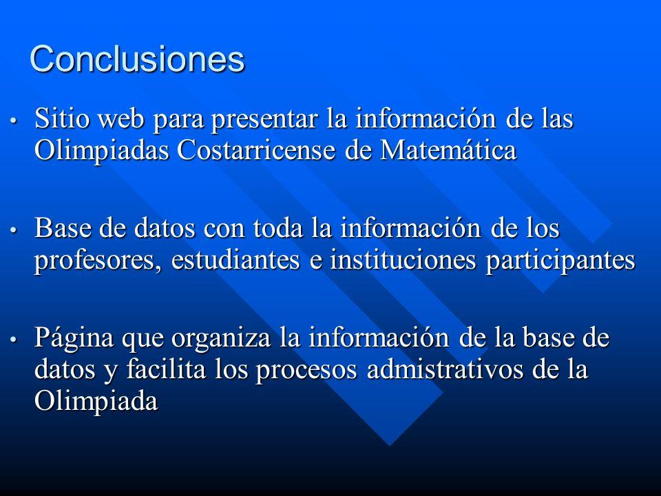 Conclusiones Sitio web para presentar la información de las Olimpiadas Costarricense de Matemática.