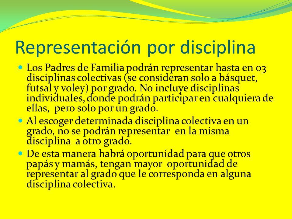 Representación por disciplina