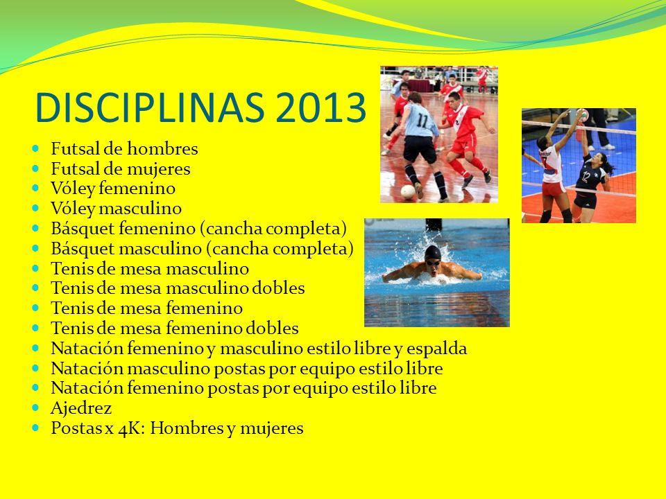 DISCIPLINAS 2013 Futsal de hombres Futsal de mujeres Vóley femenino