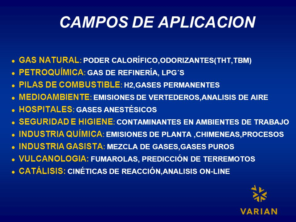 CAMPOS DE APLICACIONGAS NATURAL: PODER CALORÍFICO,ODORIZANTES(THT,TBM) PETROQUÍMICA: GAS DE REFINERÍA, LPG´S.