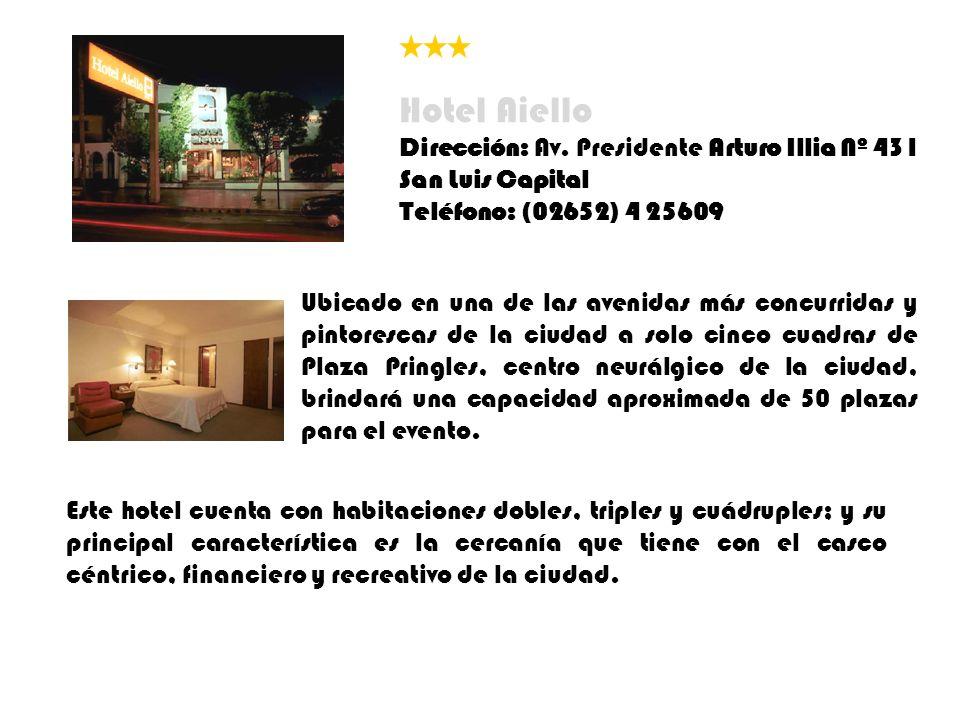 Hotel Aiello Dirección: Av. Presidente Arturo Illia Nº 431