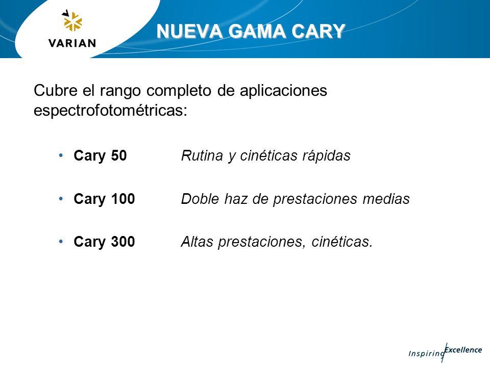 NUEVA GAMA CARY Cubre el rango completo de aplicaciones espectrofotométricas: Cary 50 Rutina y cinéticas rápidas.