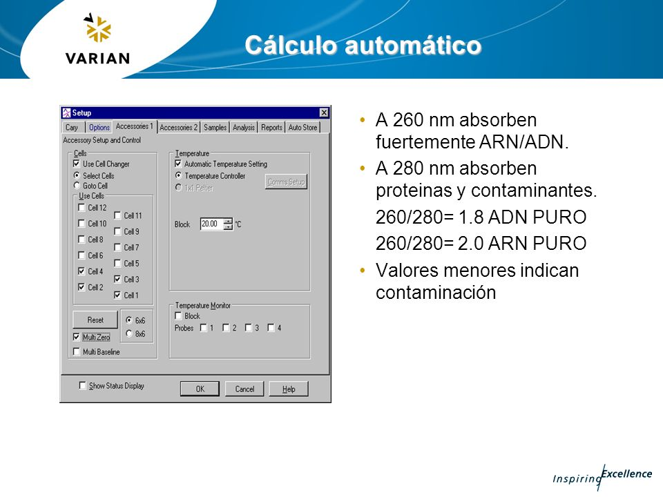 Cálculo automático A 260 nm absorben fuertemente ARN/ADN.