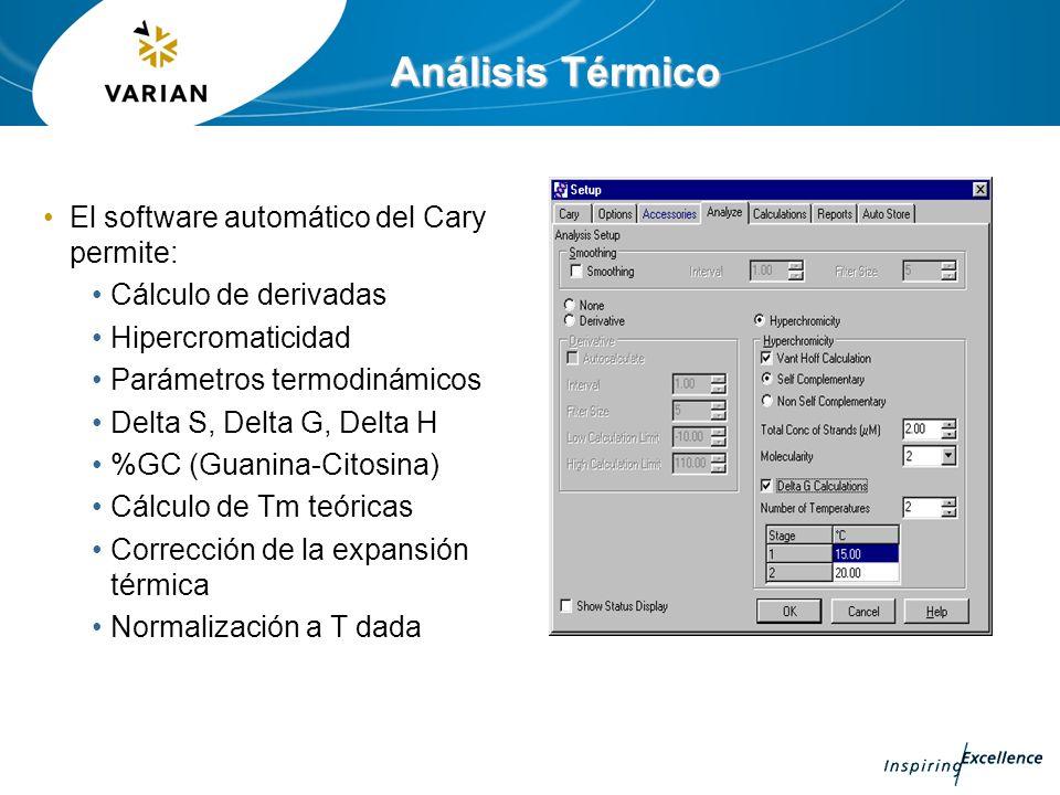 Análisis Térmico El software automático del Cary permite: