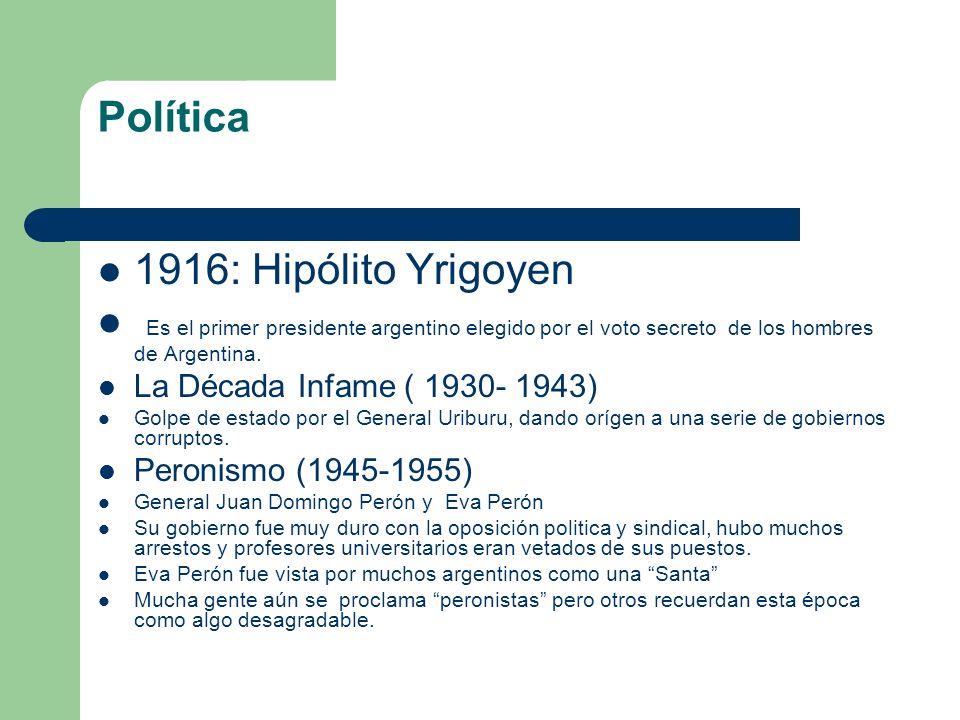 Política 1916: Hipólito Yrigoyen