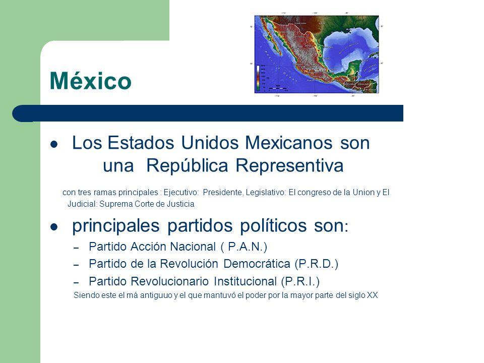México Los Estados Unidos Mexicanos son una República Representiva