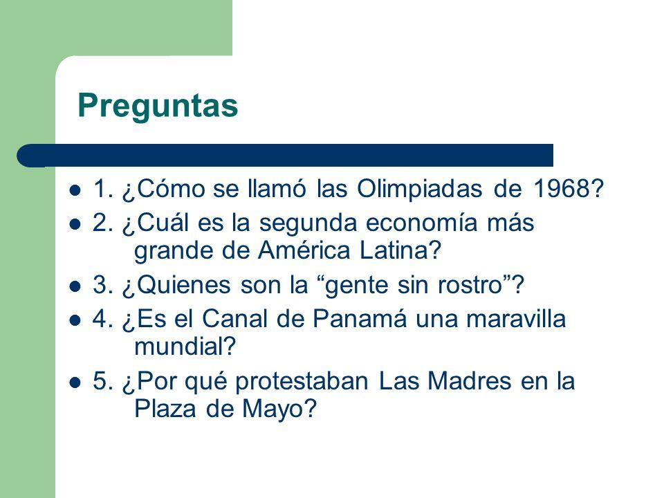 Preguntas 1. ¿Cómo se llamó las Olimpiadas de 1968