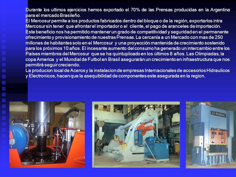 Durante los ultimos ejercicios hemos exportado el 70% de las Prensas producidas en la Argentina para el mercado Brasileño.