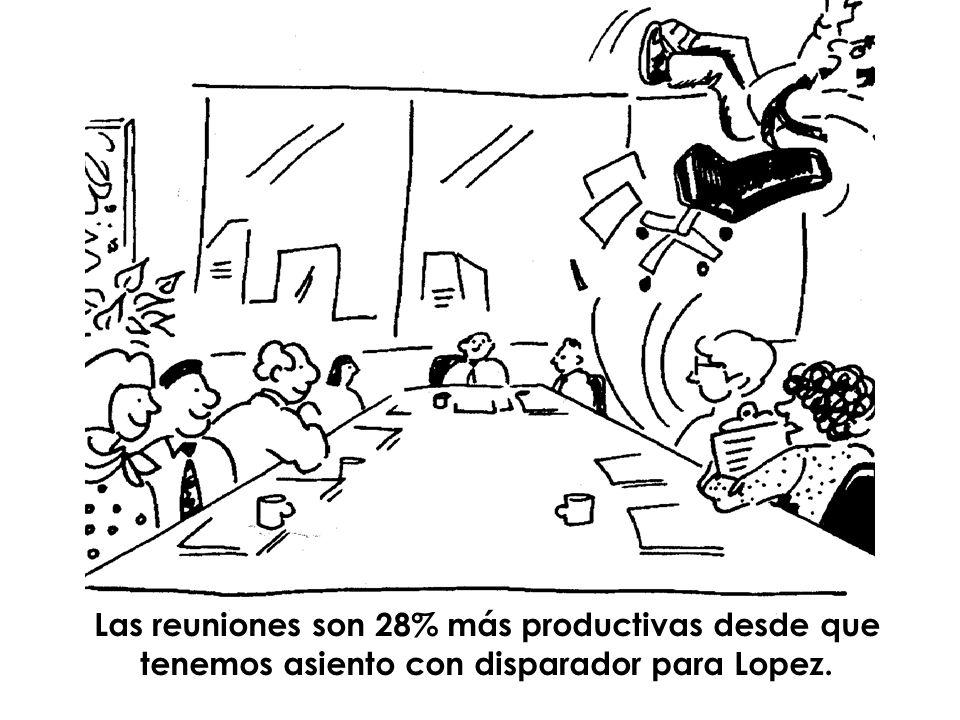 Las reuniones son 28% más productivas desde que tenemos asiento con disparador para Lopez.