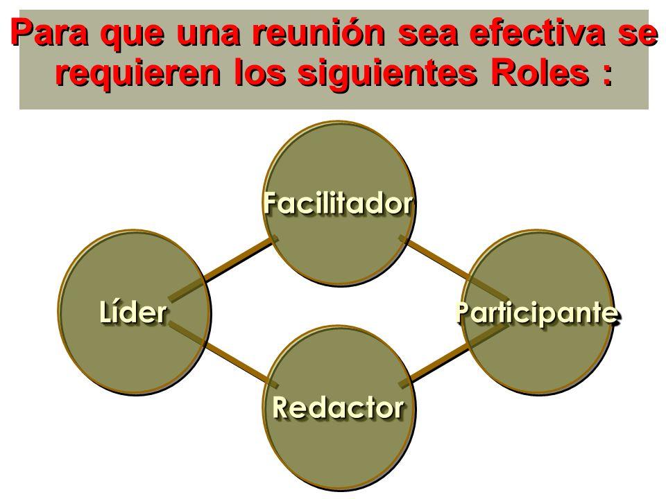 Para que una reunión sea efectiva se requieren los siguientes Roles :