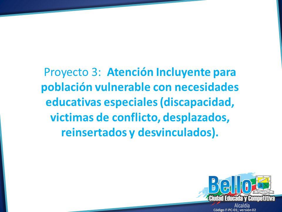Proyecto 3: Atención Incluyente para población vulnerable con necesidades educativas especiales (discapacidad, victimas de conflicto, desplazados, reinsertados y desvinculados).