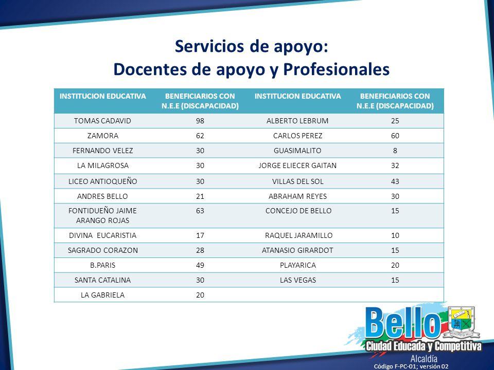 Servicios de apoyo: Docentes de apoyo y Profesionales