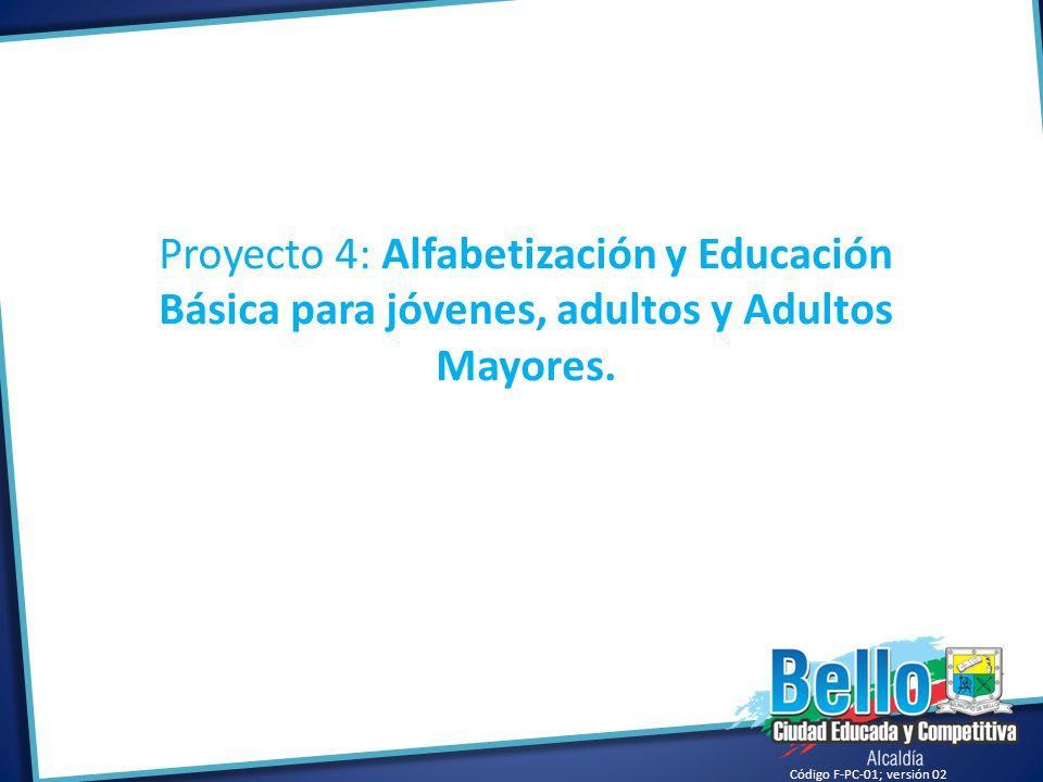 Proyecto 4: Alfabetización y Educación Básica para jóvenes, adultos y Adultos Mayores.