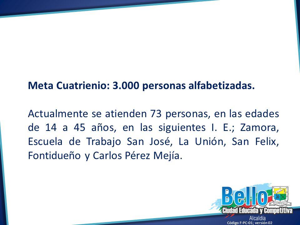 Meta Cuatrienio: 3.000 personas alfabetizadas.
