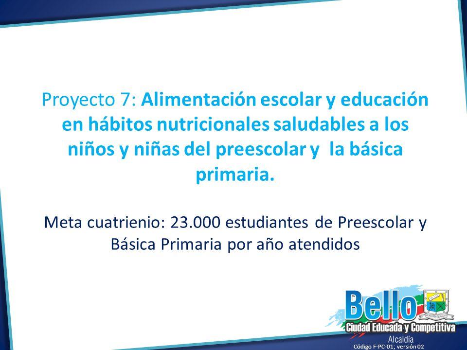 Proyecto 7: Alimentación escolar y educación en hábitos nutricionales saludables a los niños y niñas del preescolar y la básica primaria.