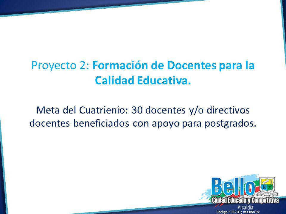 Proyecto 2: Formación de Docentes para la Calidad Educativa.