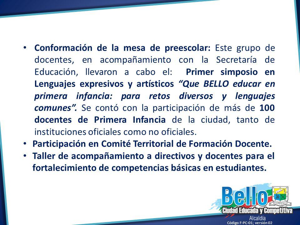 Participación en Comité Territorial de Formación Docente.