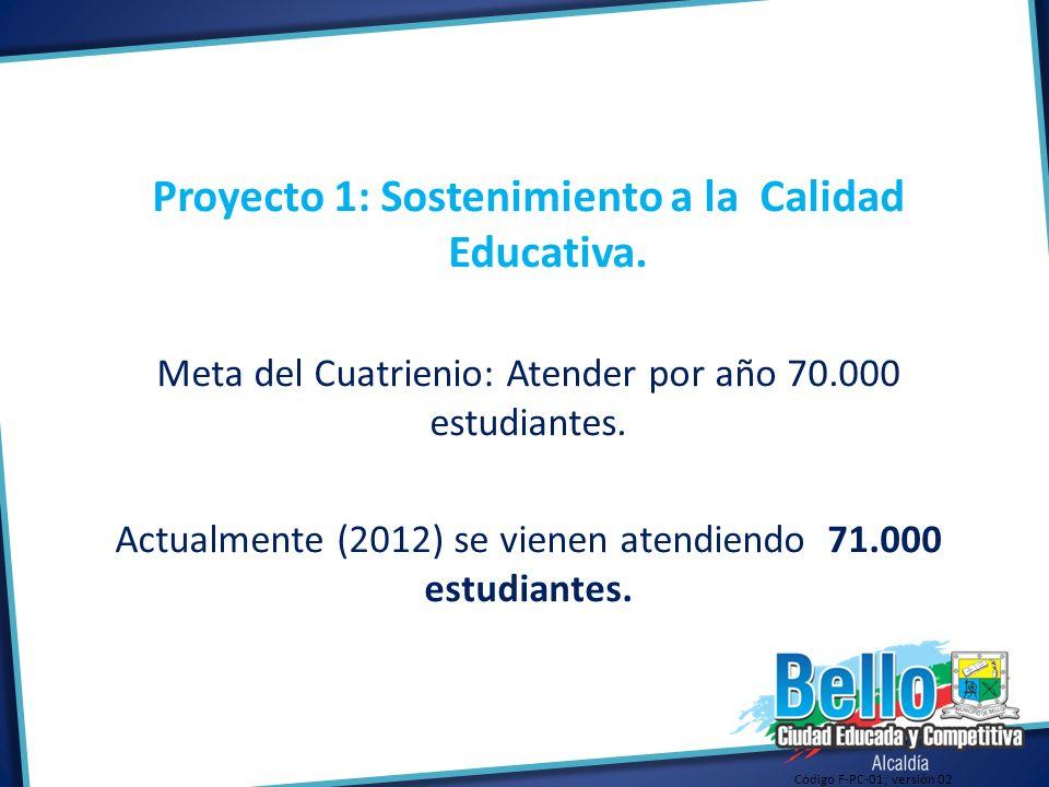 Proyecto 1: Sostenimiento a la Calidad Educativa.