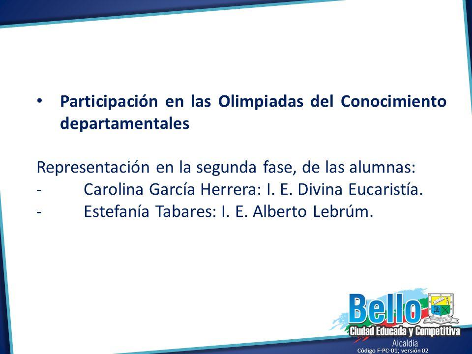 Participación en las Olimpiadas del Conocimiento departamentales