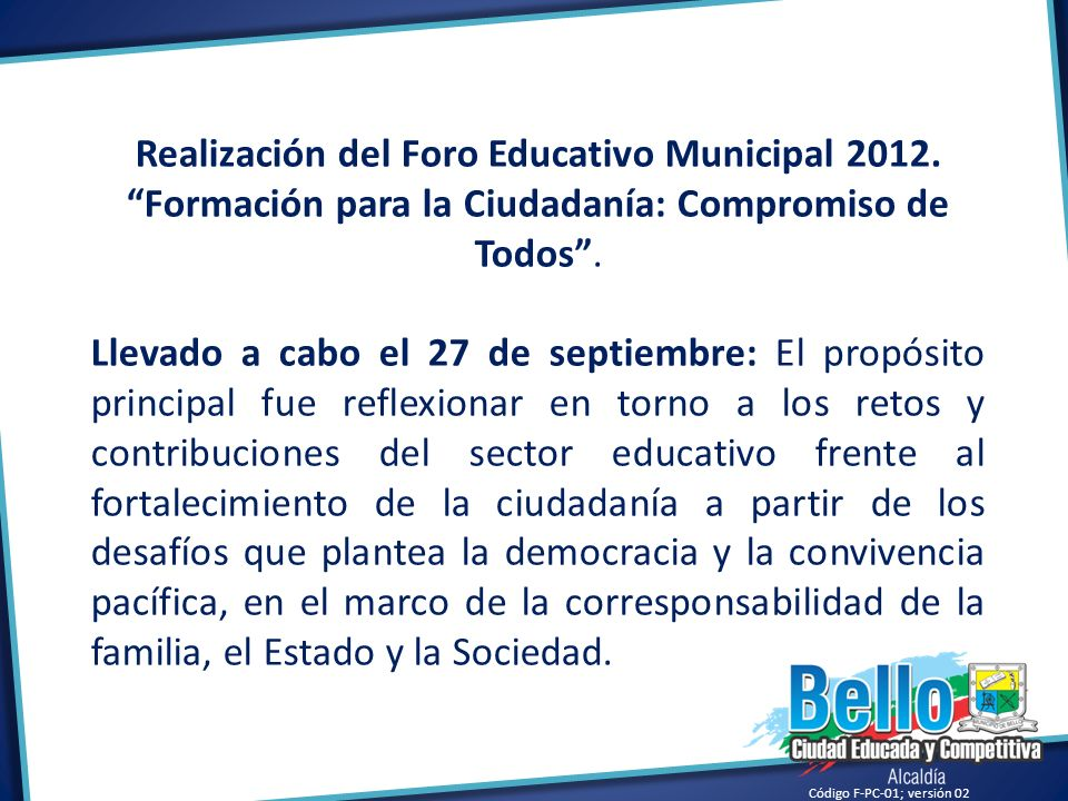 Realización del Foro Educativo Municipal 2012