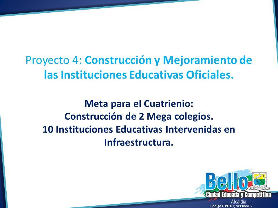 Proyecto 4: Construcción y Mejoramiento de las Instituciones Educativas Oficiales.