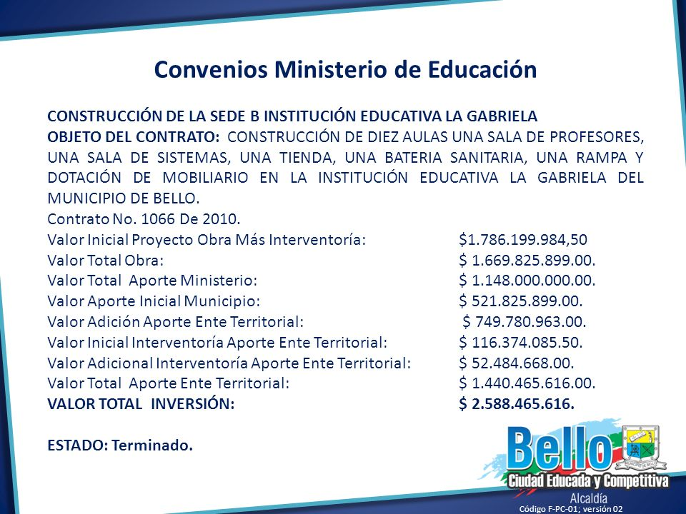 Convenios Ministerio de Educación
