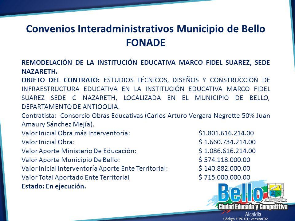 Convenios Interadministrativos Municipio de Bello FONADE