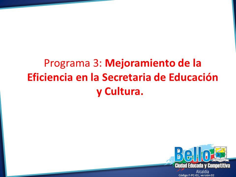 Programa 3: Mejoramiento de la Eficiencia en la Secretaria de Educación y Cultura.