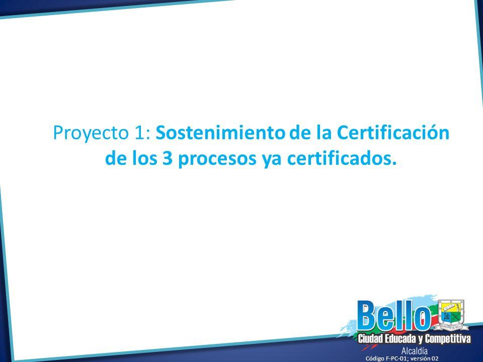 Proyecto 1: Sostenimiento de la Certificación de los 3 procesos ya certificados.