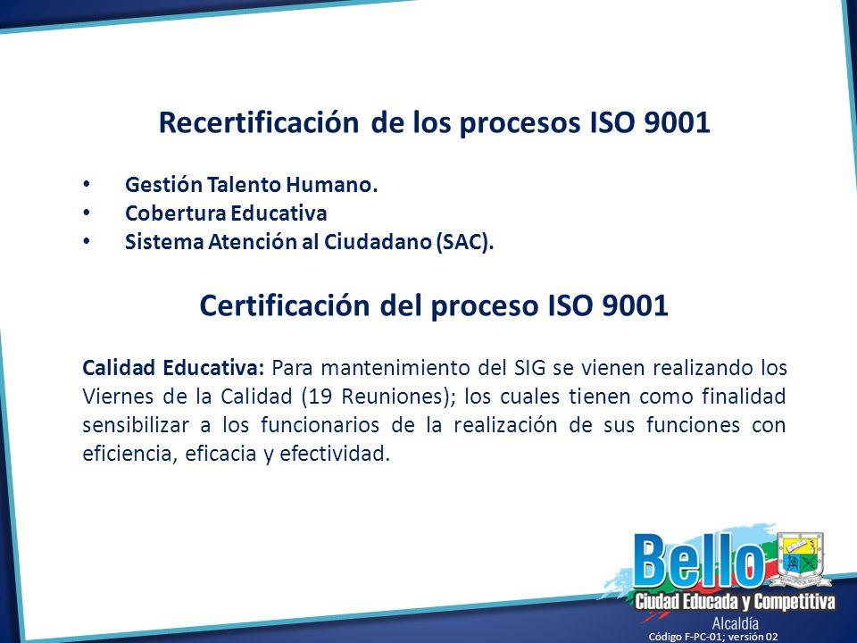Recertificación de los procesos ISO 9001