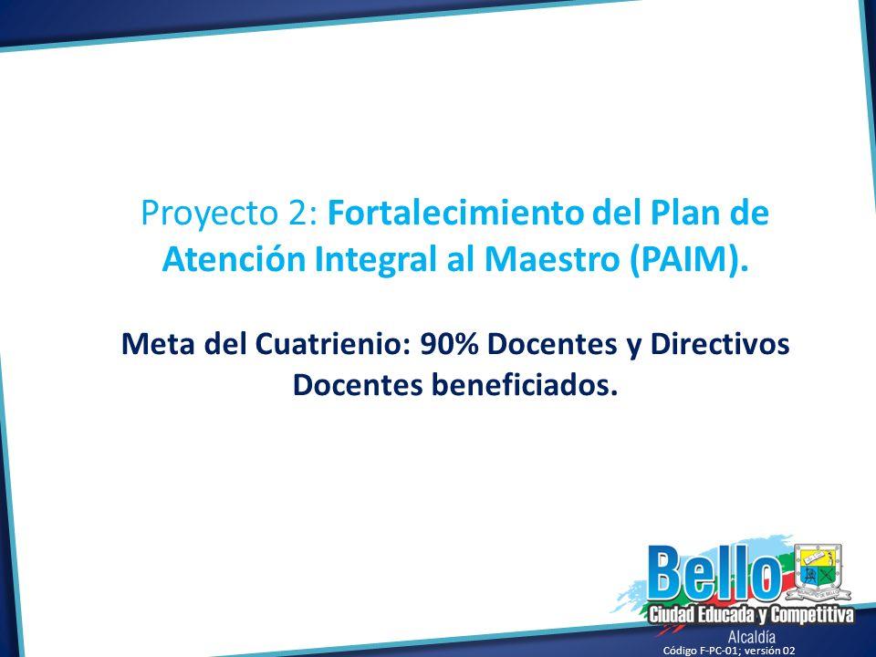 Meta del Cuatrienio: 90% Docentes y Directivos Docentes beneficiados.