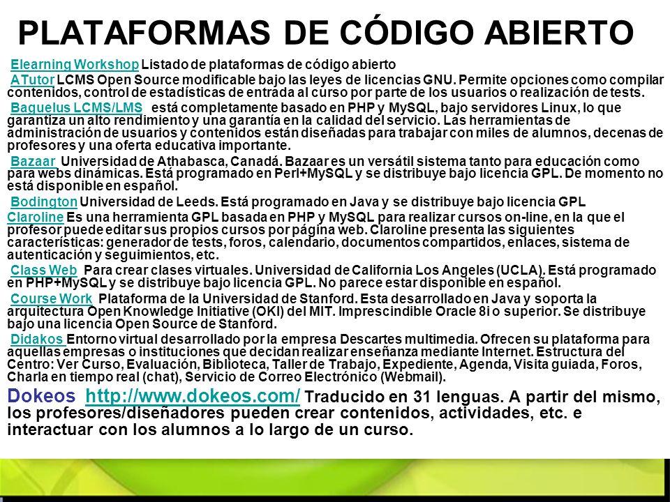 PLATAFORMAS DE CÓDIGO ABIERTO