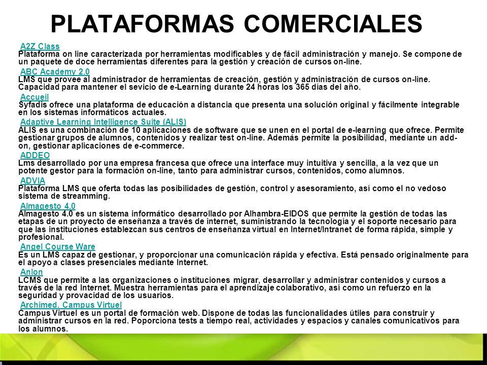 PLATAFORMAS COMERCIALES