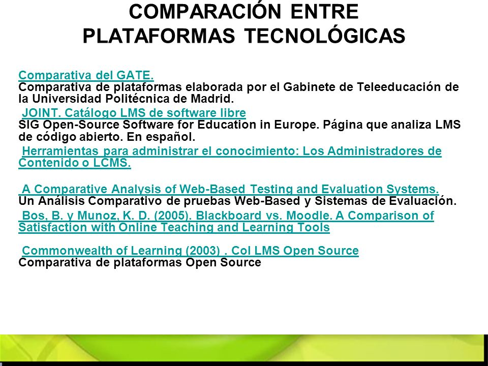 COMPARACIÓN ENTRE PLATAFORMAS TECNOLÓGICAS