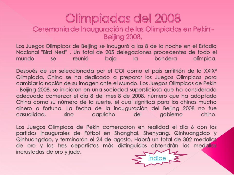 Olimpiadas del 2008 Ceremonia de Inauguración de las Olimpiadas en Pekín - Beijing 2008.
